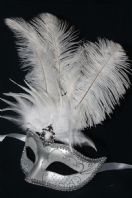 Silver and White Tall Feather Mask